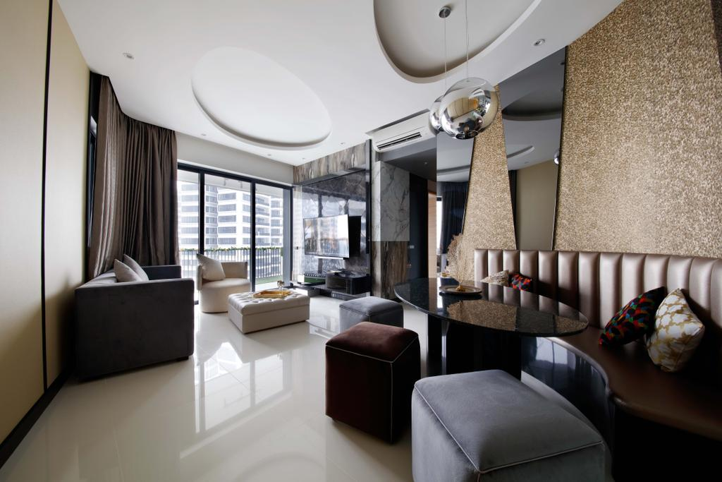 Contemporary, Condo, Living Room, D'Leedon, Interior Designer, Free Space Intent, Furniture, Ottoman, Chair, Indoors, Interior Design, Room, Couch
