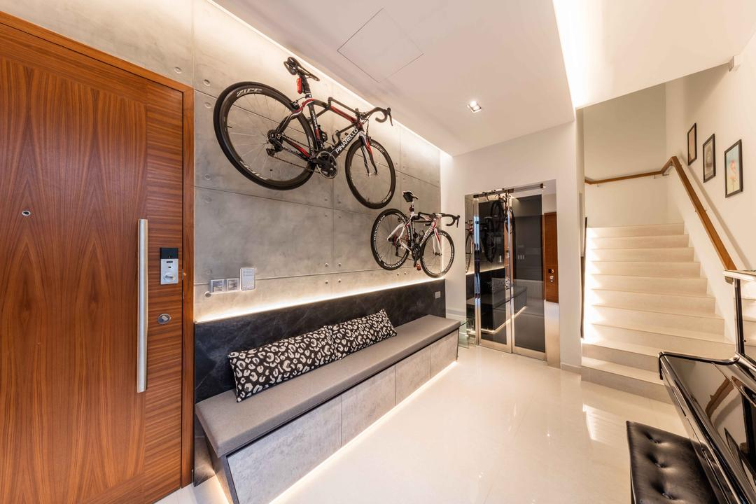 The Whitley Residences, Ciseern, Modern, Living Room, Landed, Bicycle, Bike, Transportation, Vehicle, Banister, Handrail, Staircase, Mountain Bike, Indoors, Interior Design