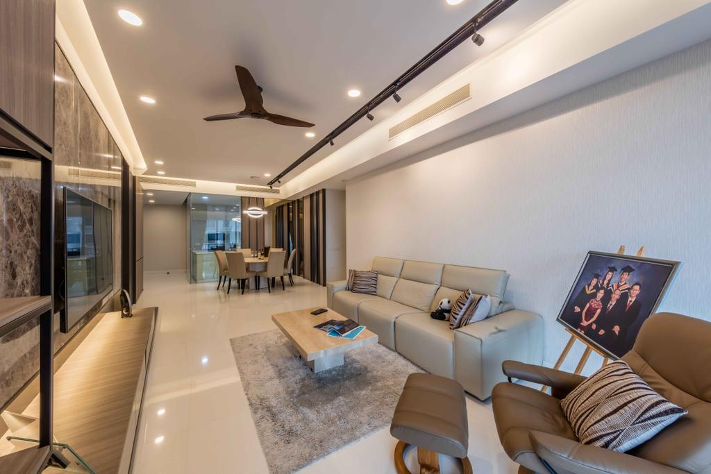 Modern, Condo, Living Room, D'Leedon, Interior Designer, Ciseern, Couch, Furniture, Chair, Flooring, Plywood, Wood, HDB, Building, Housing, Indoors, Appliance, Electrical Device, Oven