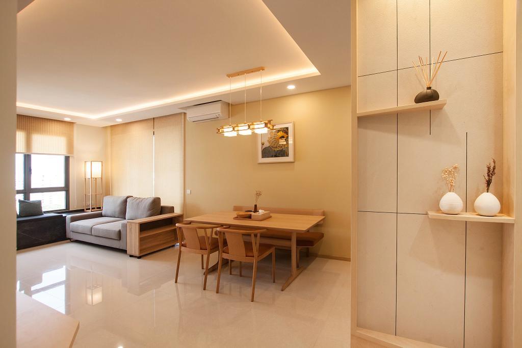 Modern, Condo, Living Room, Vue 8, Interior Designer, Space Atelier, Scandinavian, Dining Table, Furniture, Table, Indoors, Interior Design, Flooring, Light Fixture