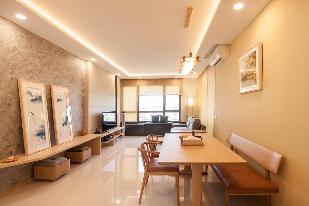 Modern, Condo, Dining Room, Vue 8, Interior Designer, Space Atelier, Scandinavian, Dining Table, Furniture, Table, Indoors, Interior Design, Room, Chair, Bathroom, Bench
