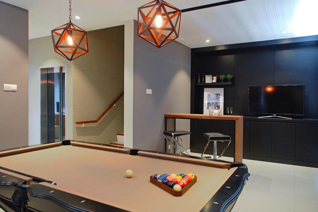 Canary Residence, Sachi Interiors, Contemporary, Landed, Billiard Room, Furniture, Indoors, Pool Table, Room, Table, Light Fixture, Apartment, Building, Housing, Loft