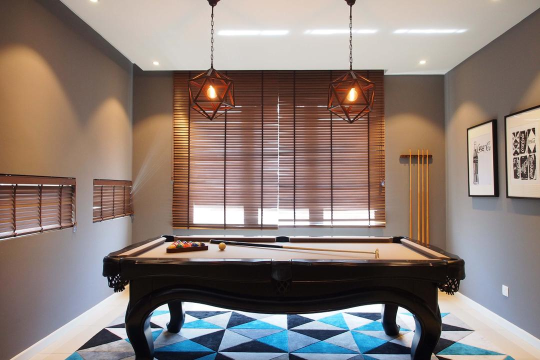 Canary Residence, Sachi Interiors, Contemporary, Landed, Grand Piano, Leisure Activities, Music, Musical Instrument, Piano, Billiard Room, Furniture, Indoors, Pool Table, Room, Table, Curtain, Home Decor, Window, Window Shade, Dining Room, Interior Design