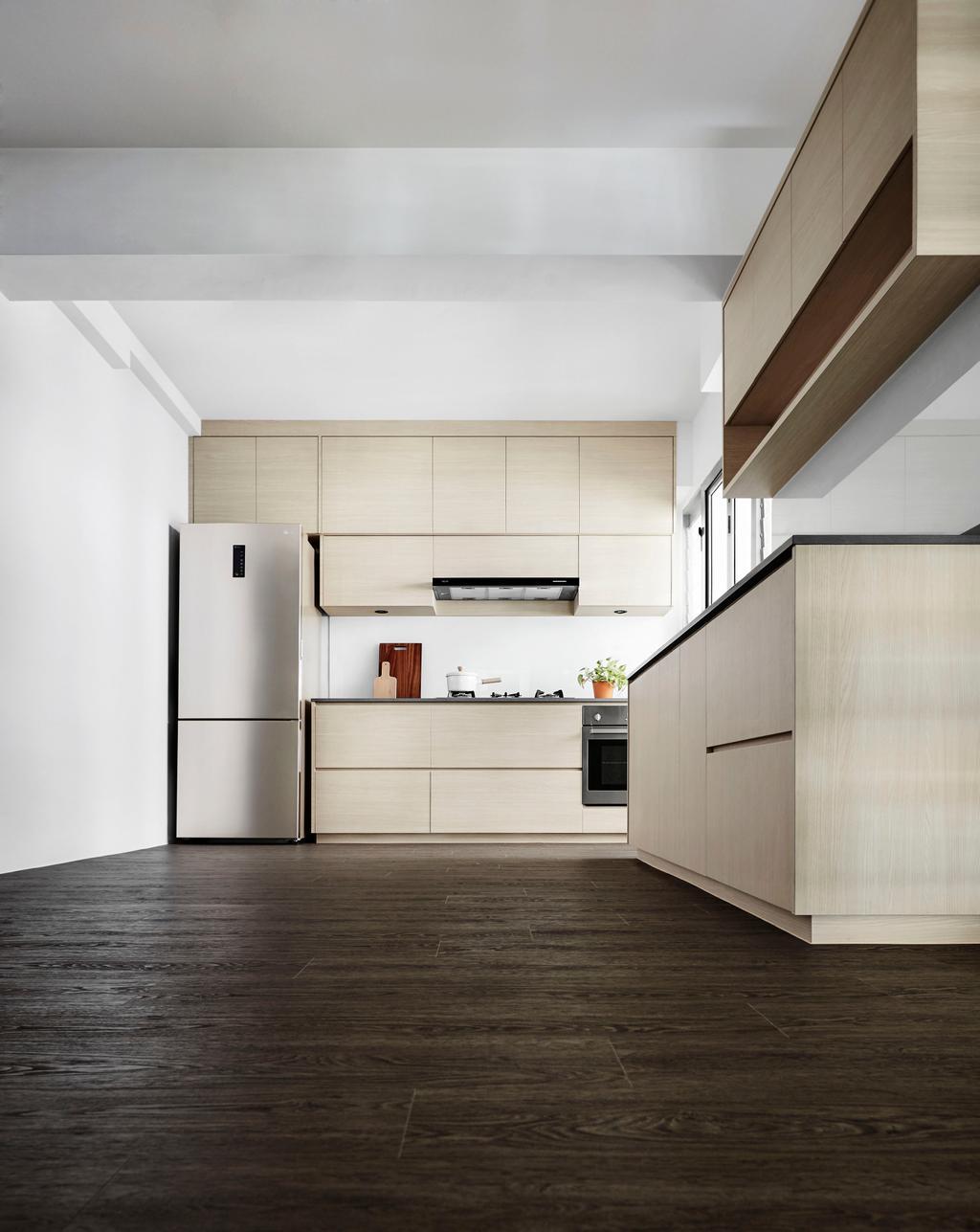 Minimalistic, HDB, Kitchen, Edgedale Plains, Interior Designer, Dan's Workshop, Scandinavian, Building, Housing, Indoors, Loft
