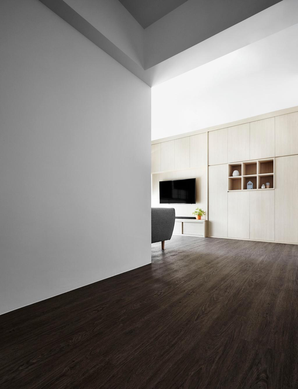 Minimalistic, HDB, Living Room, Edgedale Plains, Interior Designer, Dan's Workshop, Scandinavian, Flooring, Shelf, Building, Housing, Indoors, Loft