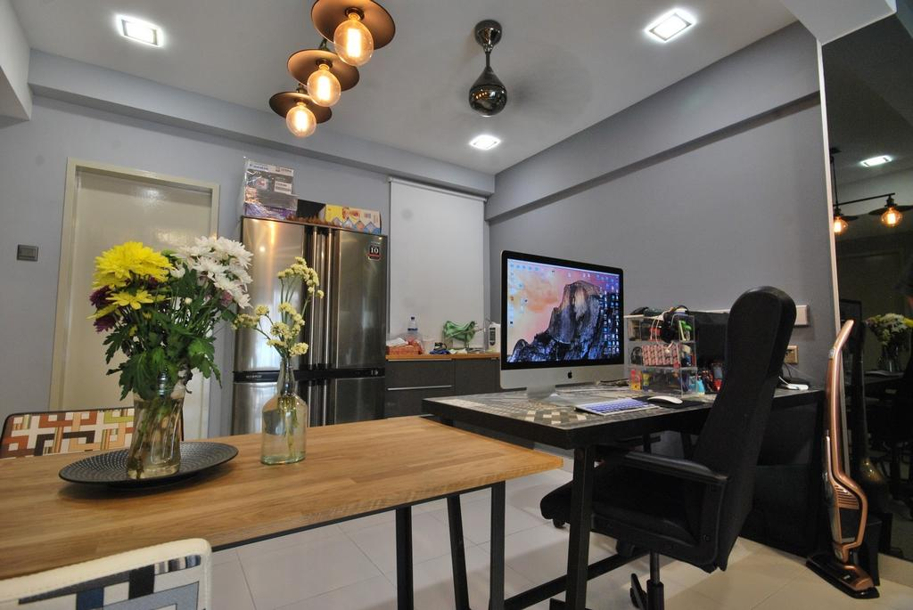 Industrial, Condo, Casa Tropicana, Interior Designer, The Grid Studio, Contemporary, Eclectic, Modern, Light Fixture, Electronics, Monitor, Screen, Tv, Television, Chair, Furniture, Dining Table, Table, Flora, Jar, Plant, Potted Plant, Pottery, Vase, Dining Room, Indoors, Interior Design, Room, Couch