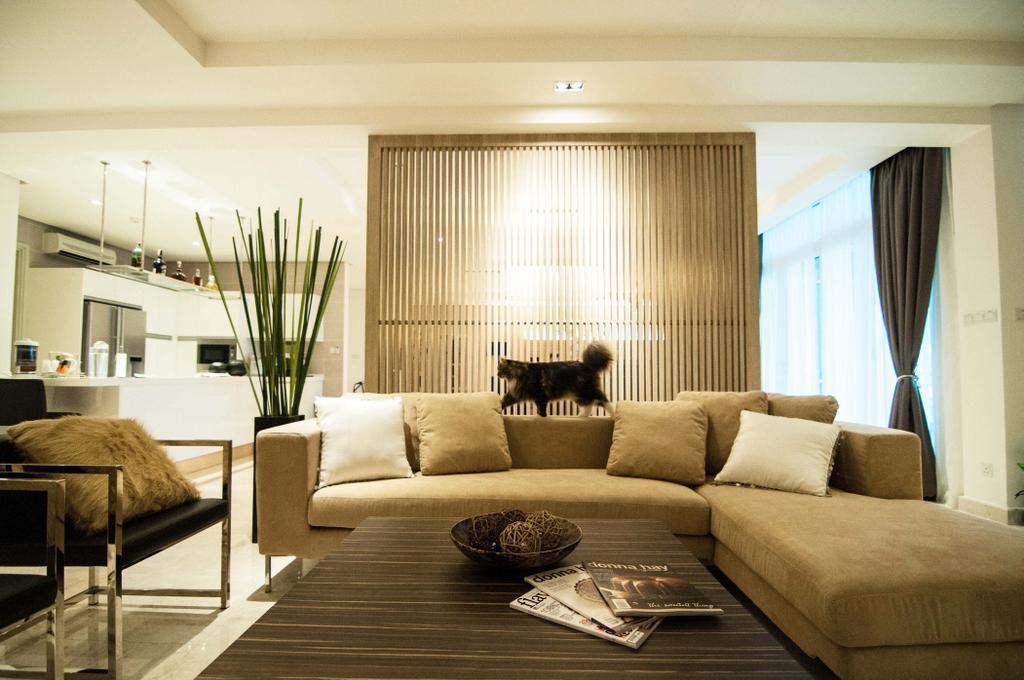 Modern, Condo, Living Room, Tijani 2 Bukit Tunku, Interior Designer, Sachi Interiors, Chair, Furniture, Flora, Jar, Plant, Potted Plant, Pottery, Vase, Indoors, Room, Couch