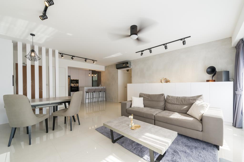 Scandinavian, HDB, Living Room, Punggol Walk (Block 308A), Interior Designer, ELPIS Interior Design, Minimalistic, Dining Table, Furniture, Table, Chair, Indoors, Interior Design, Couch, Room