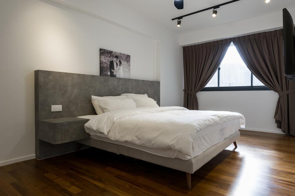 Scandinavian, HDB, Bedroom, Punggol Walk (Block 308A), Interior Designer, ELPIS Interior Design, Minimalistic, Bed, Furniture, Indoors, Interior Design, Room