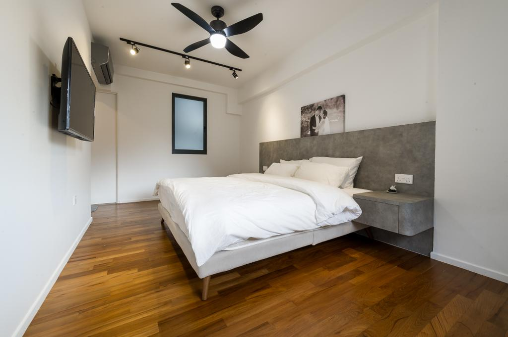 Scandinavian, HDB, Bedroom, Punggol Walk (Block 308A), Interior Designer, ELPIS Interior Design, Minimalistic, Bed, Furniture, Light Fixture, Indoors, Interior Design, Room