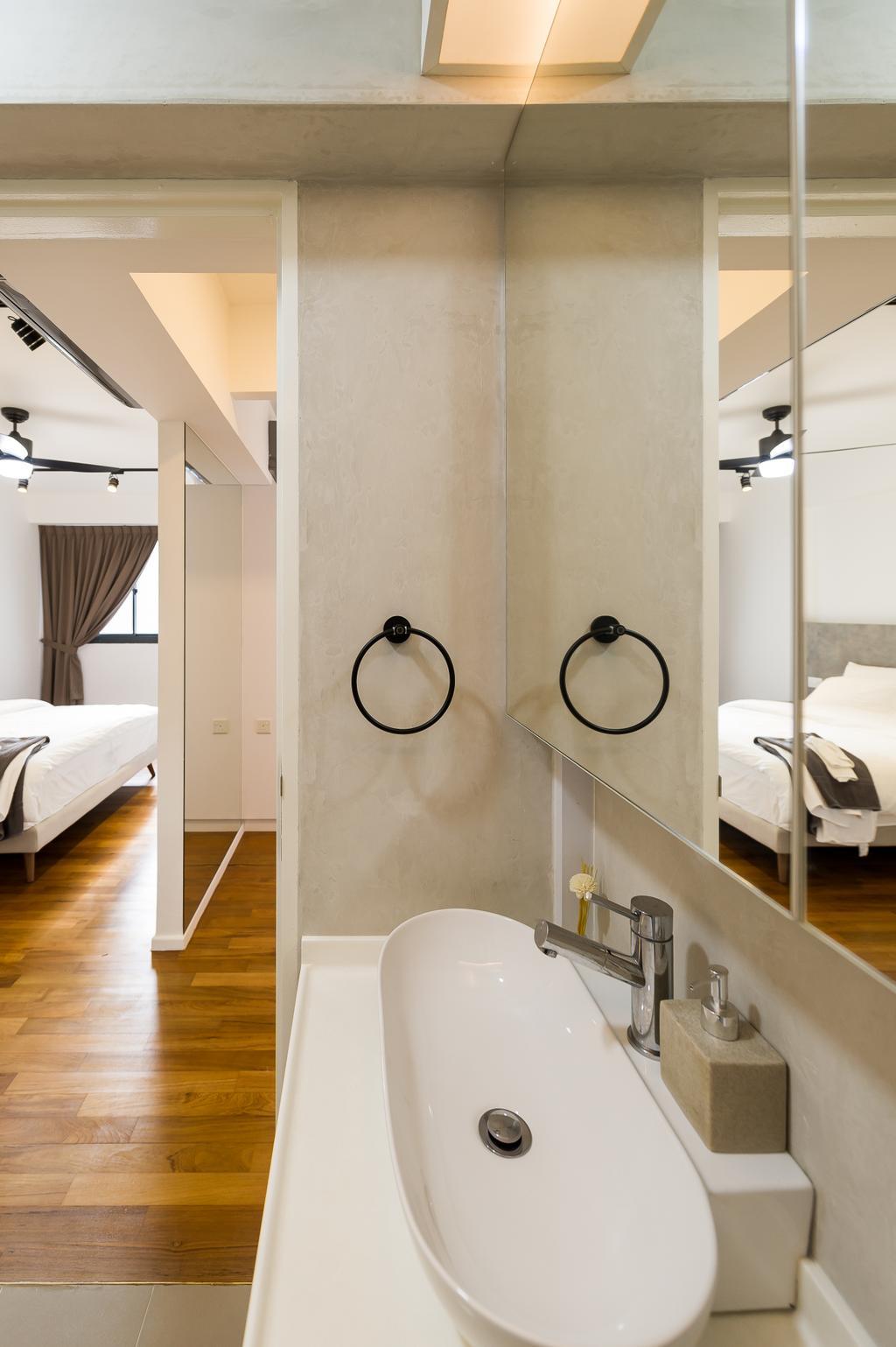 Scandinavian, HDB, Bathroom, Punggol Walk (Block 308A), Interior Designer, ELPIS Interior Design, Minimalistic, Bed, Furniture, Indoors, Interior Design