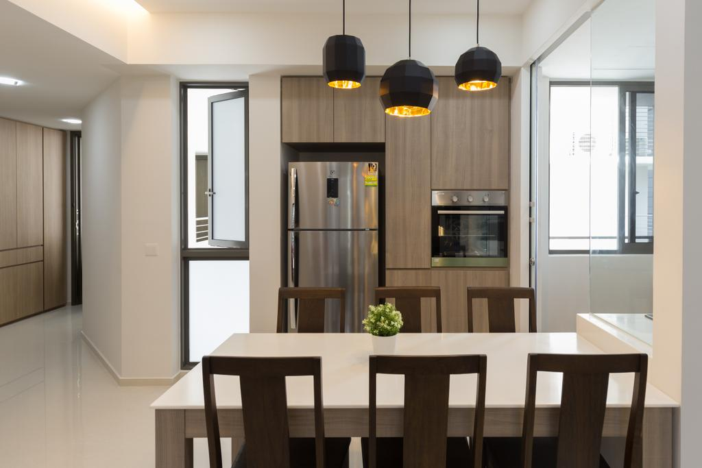 Modern, Condo, Dining Room, Riverbank @ Fernvale, Interior Designer, Charlotte's Carpentry, Dining Table, Furniture, Table, Indoors, Interior Design, Room, Lamp, Light, Traffic Light