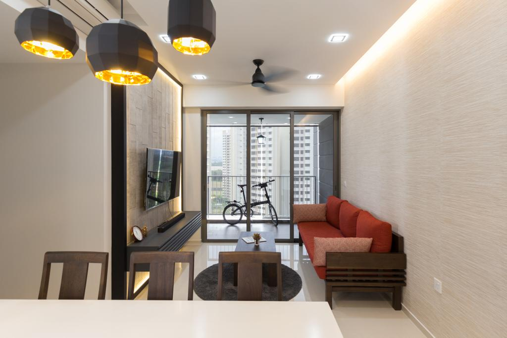 Modern, Condo, Living Room, Riverbank @ Fernvale, Interior Designer, Charlotte's Carpentry, Couch, Furniture, Light Fixture, Indoors, Interior Design, Chair, Dining Room, Room
