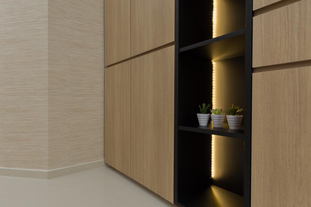 Riverbank @ Fernvale, Charlotte's Carpentry, Modern, Living Room, Condo, Siding, Door, Sliding Door