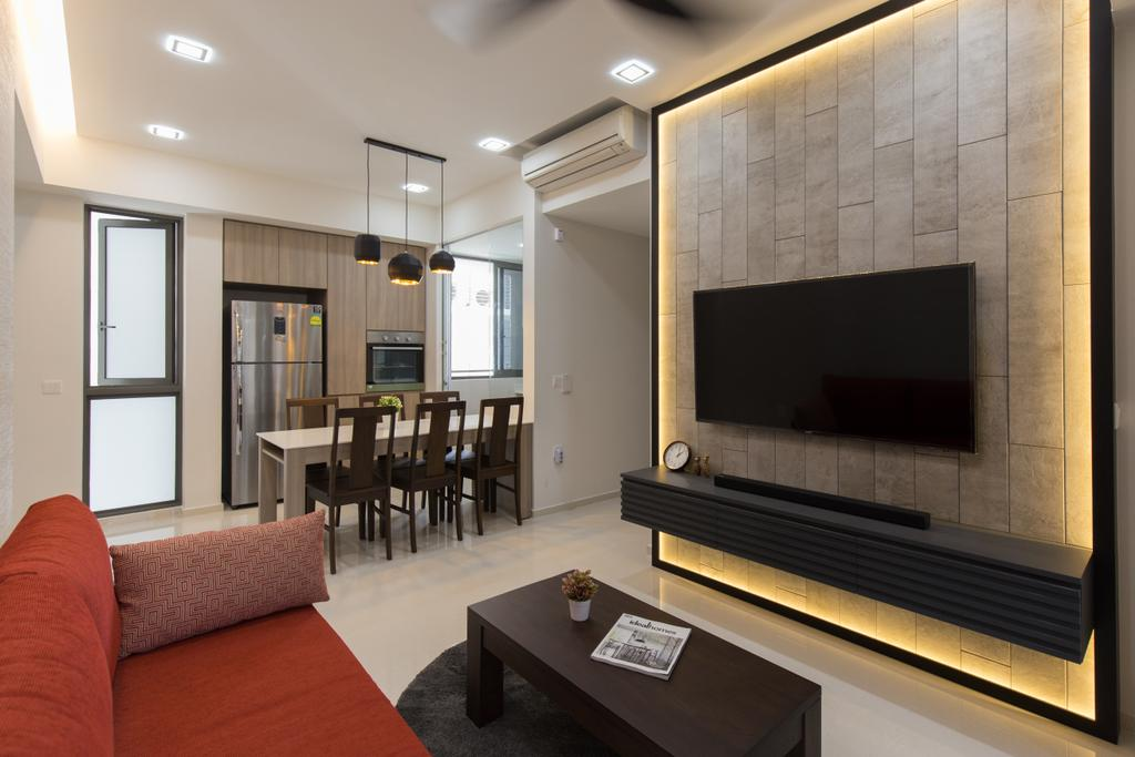 Modern, Condo, Living Room, Riverbank @ Fernvale, Interior Designer, Charlotte's Carpentry, Dining Table, Furniture, Table, Fireplace, Hearth, Couch