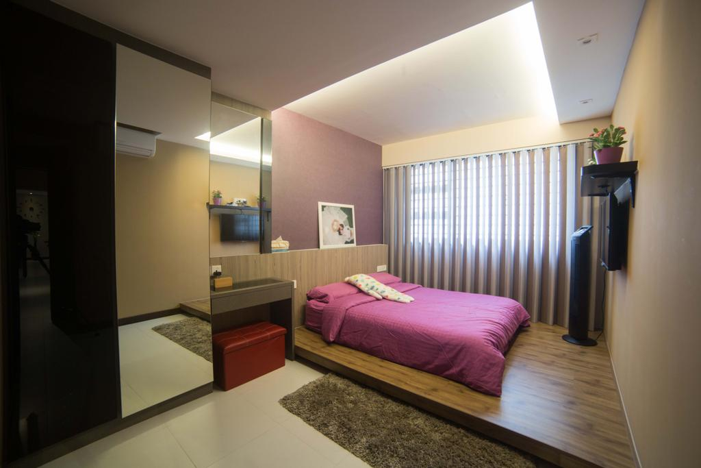 Modern, HDB, Bedroom, Punggol Field (Block 259C ), Interior Designer, Juz Interior, Indoors, Interior Design, Room, Bed, Furniture