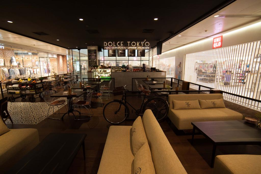 Dolce Tokyo Cafe, Commercial, Interior Designer, Juz Interior, Contemporary, Bicycle, Bike, Transportation, Vehicle, Couch, Furniture, Restaurant, Chair