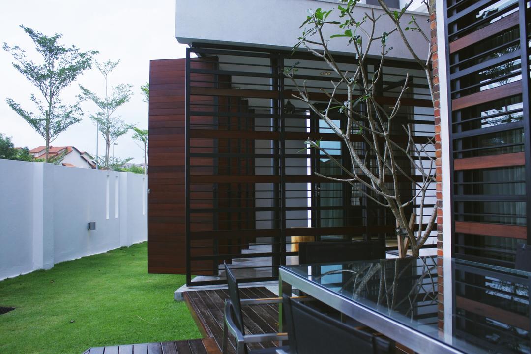 Shah Alam Terrace, Core Design Workshop, Contemporary, Landed, Bench, Outdoors, Yard, Flora, Jar, Plant, Potted Plant, Pottery, Vase
