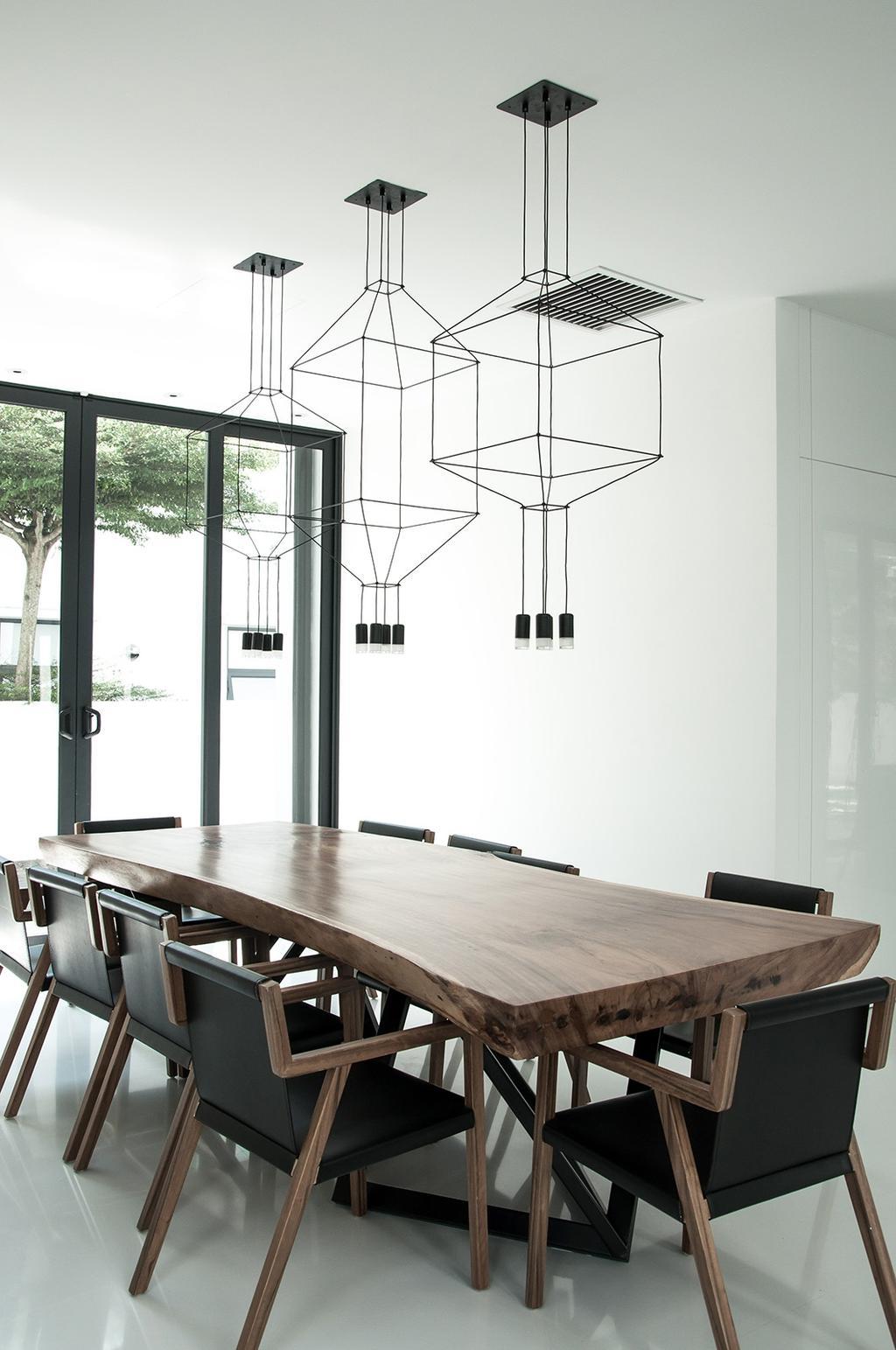Modern, Landed, Dining Room, Shah Alam, Interior Designer, Core Design Workshop, Dining Table, Furniture, Table, Conference Room, Indoors, Meeting Room, Room, Interior Design
