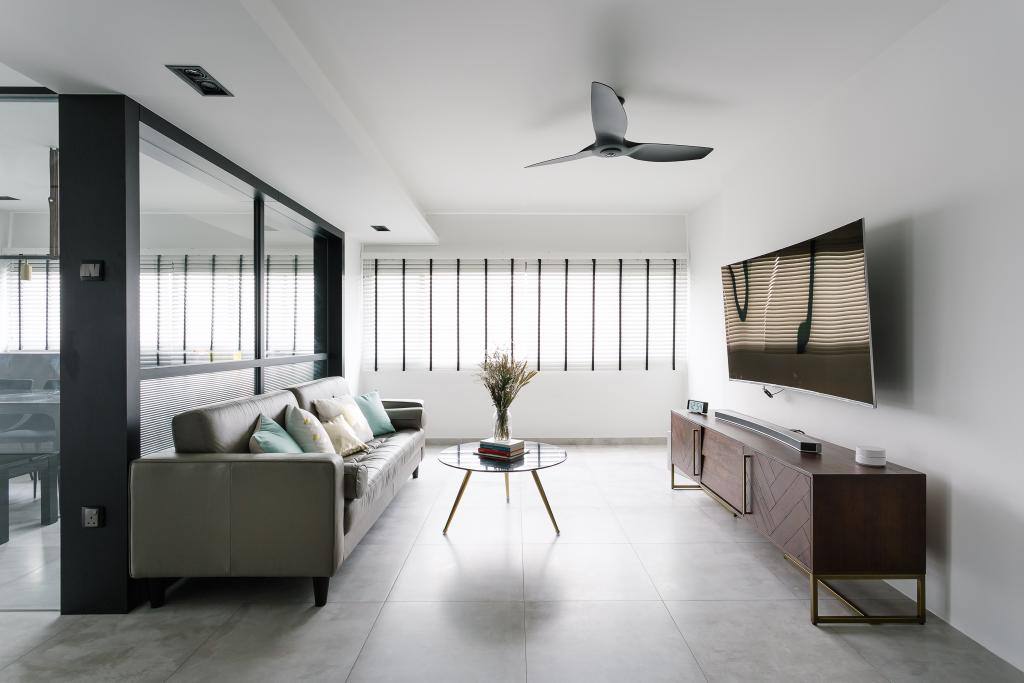 Modern, HDB, Living Room, Marine Crescent, Interior Designer, Habit, Eclectic, Sideboard, Commune, Bright And Airy, Floral Centrepiece, Tv Console, Propeller, Door, Sliding Door, Flooring, Furniture