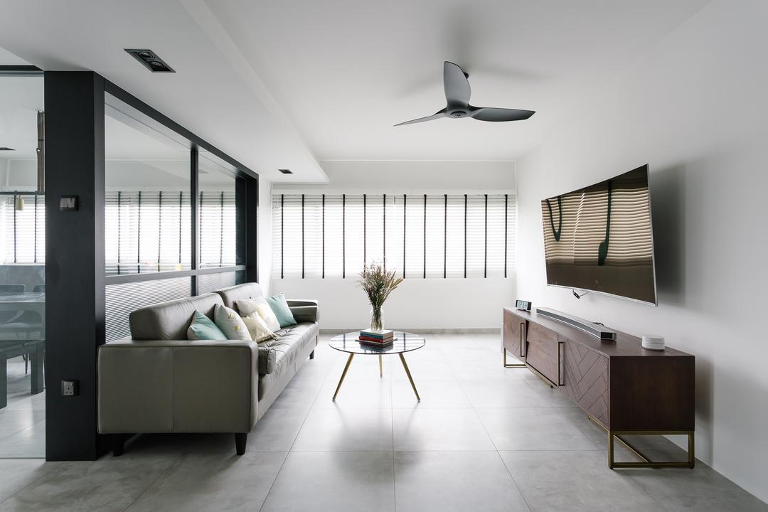 Marine Crescent, Habit, Modern, Eclectic, Living Room, HDB, Sideboard, Commune, Bright And Airy, Floral Centrepiece, Tv Console, Propeller, Door, Sliding Door, Flooring, Furniture