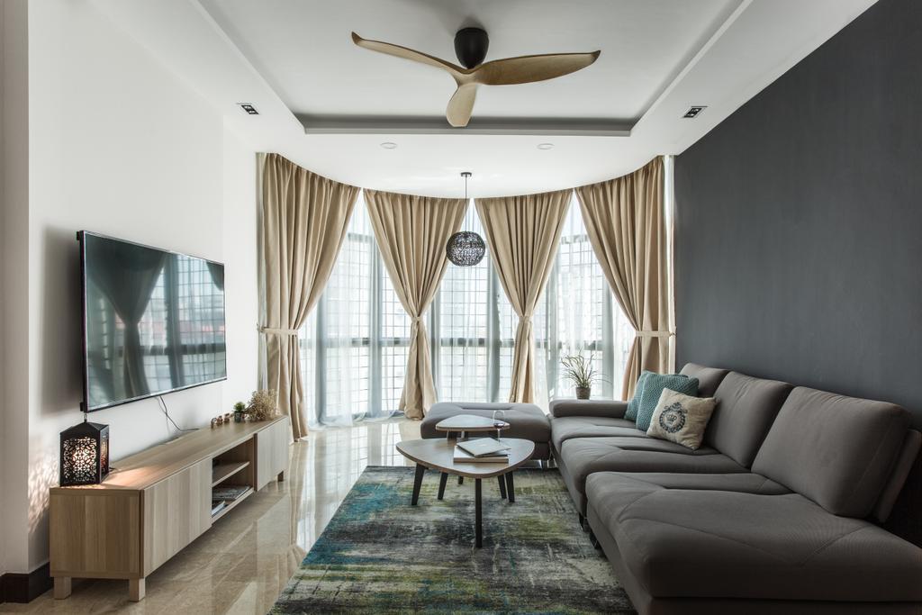 Contemporary, Condo, Living Room, Parc Oasis, Interior Designer, Schemacraft, Curtain, Home Decor, Indoors, Room, Corridor, Carpet, Dining Table, Furniture, Table