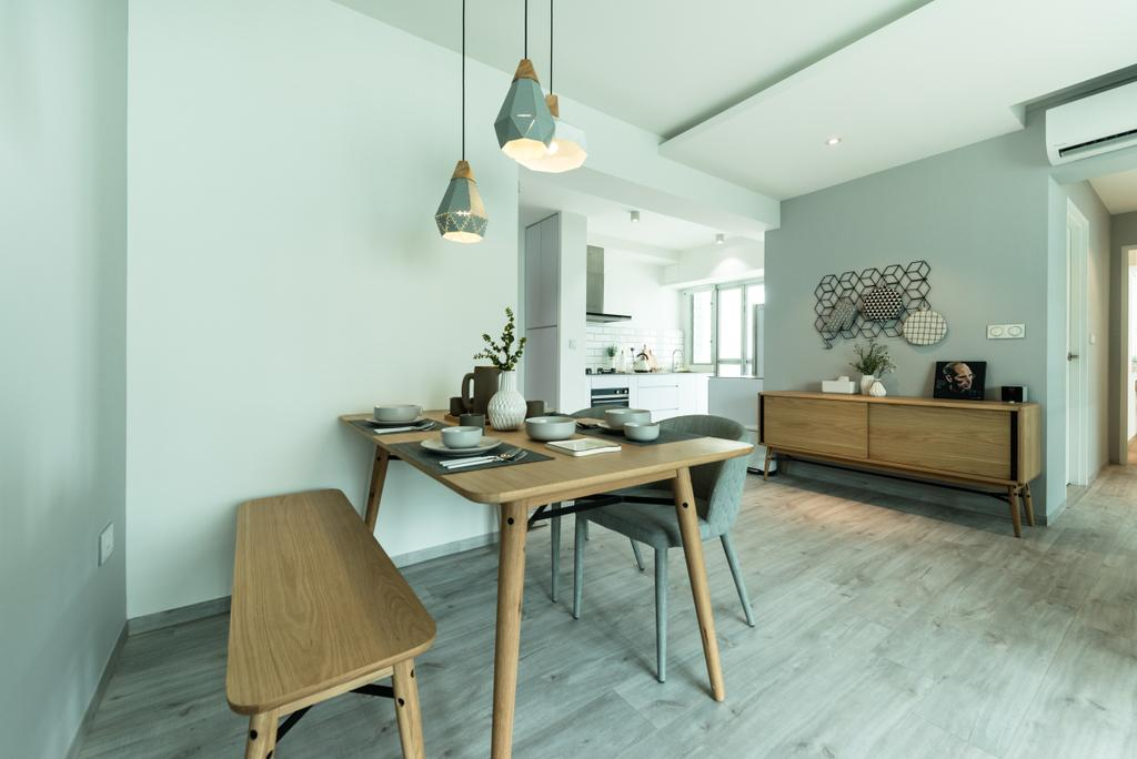 Minimalistic, HDB, Dining Room, Bendemeer Light, Interior Designer, Mr Shopper Studio, Scandinavian, Indoors, Interior Design, Room, Chair, Furniture, Dining Table, Table