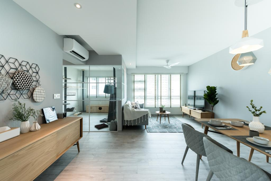Minimalistic, HDB, Living Room, Bendemeer Light, Interior Designer, Mr Shopper Studio, Scandinavian, Chair, Furniture, Coffee Table, Table, Dining Room, Indoors, Interior Design, Room, Hardwood, Wood, Dining Table, Building, Housing, Loft