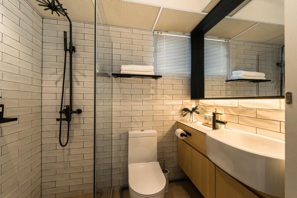 Minimalistic, HDB, Bathroom, Bendemeer Light, Interior Designer, Mr Shopper Studio, Scandinavian, Indoors, Interior Design, Room