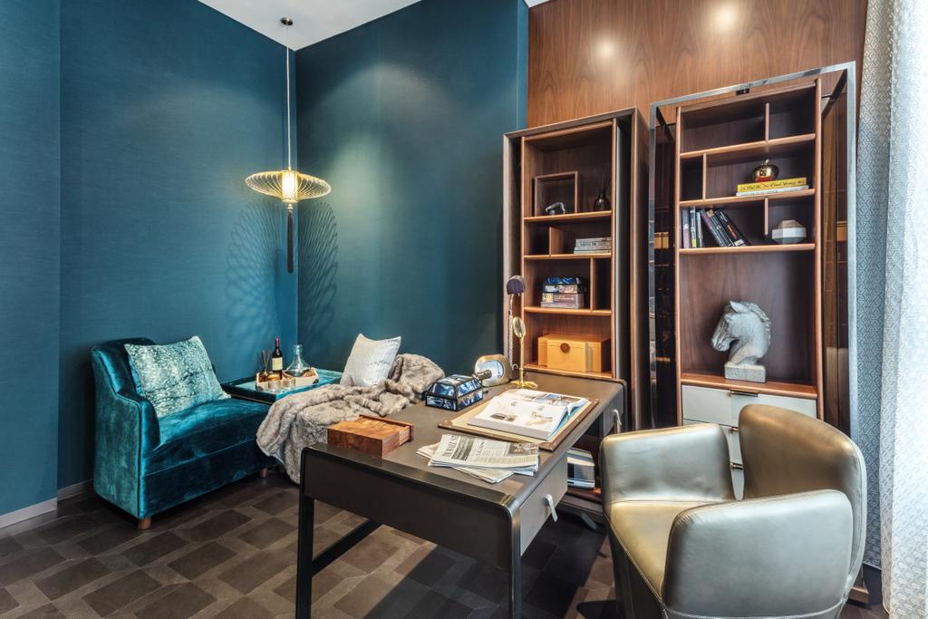 Contemporary, Landed, Living Room, G Villa, Interior Designer, A.RK Interior Design, Chair, Furniture, Couch, Bookcase, Indoors, Interior Design, Room
