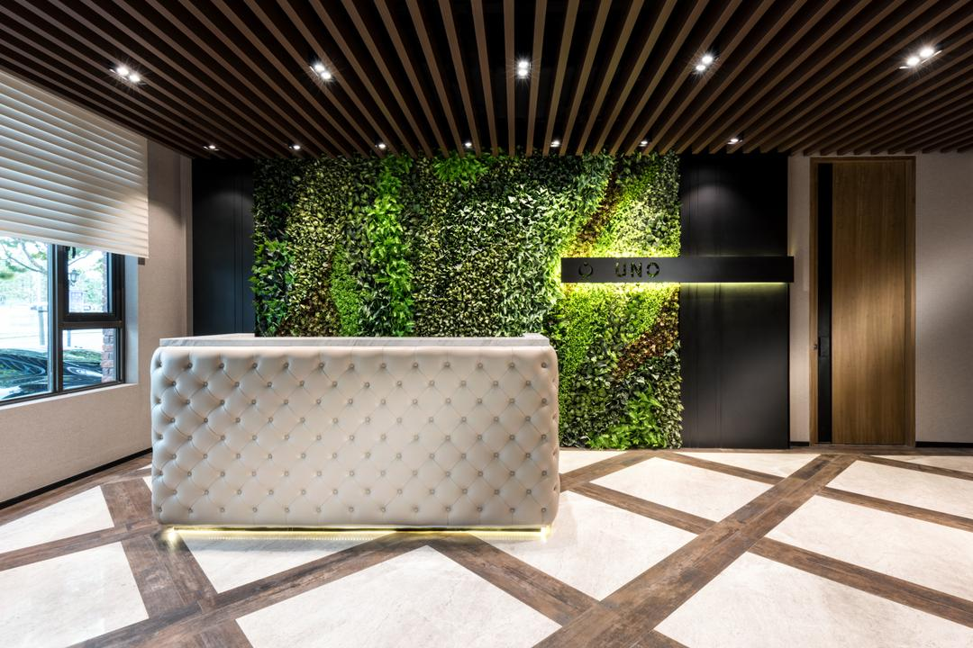 Uno Showroom, A.RK Interior Design, Contemporary, Bedroom, Commercial, Flora, Jar, Plant, Planter, Potted Plant, Pottery, Vase, Fence, Hedge, Window, Ivy, Chair, Furniture