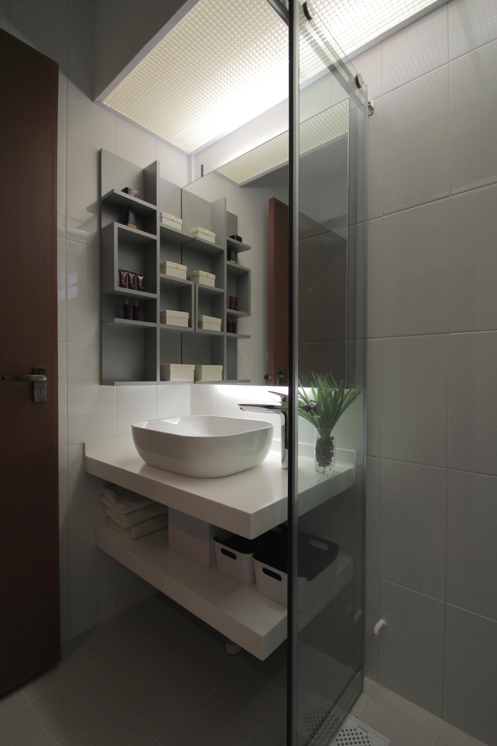 Minimalistic, HDB, Bathroom, Depot Road, Interior Designer, VVID Elements, Flora, Jar, Plant, Potted Plant, Pottery, Vase, Indoors, Interior Design, Room