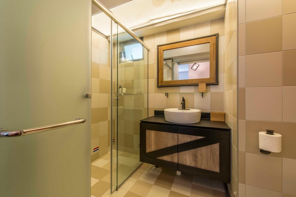 Industrial, HDB, Bathroom, Skyville @ Dawson (Block 86), Interior Designer, Superhome Design, Mirror, Bathroom Vanity, Bathroom Sink, Sink, Shower Area, Wooden Panels, Tiles, Bathroom Tiles, Indoors, Interior Design, Room
