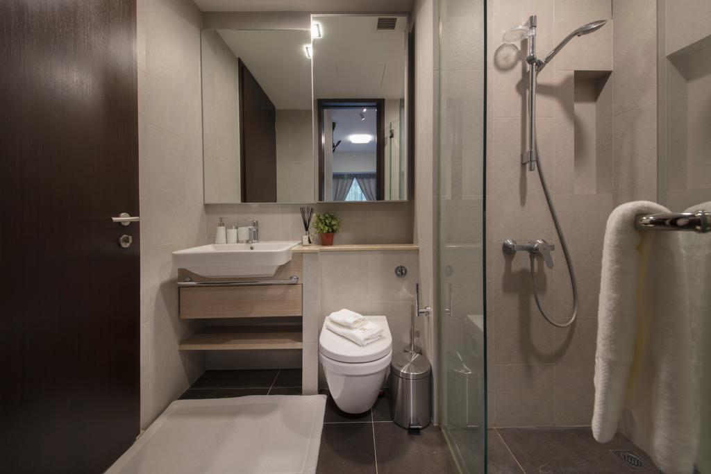 Contemporary, Condo, Bathroom, Jurong Kechil, Interior Designer, Mr Shopper Studio, Towel, Indoors, Interior Design, Room, Toilet, Shower