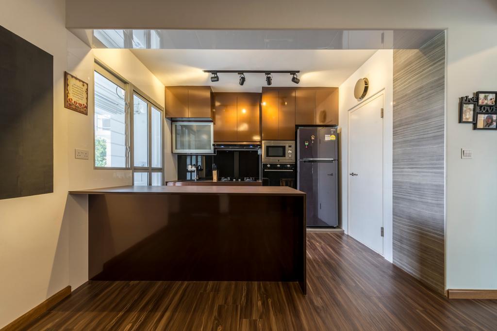 Industrial, HDB, Kitchen, Boon Lay Avenue, Interior Designer, Butler Interior, Scandinavian, Hardwood, Wood, Flooring, Floor