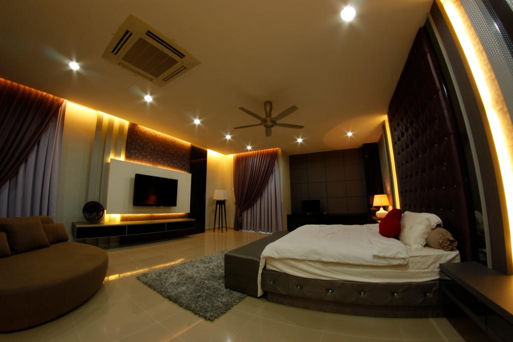Modern, Landed, Bedroom, D'Residence, Interior Designer, Zeng Interior Design Space, Couch, Furniture, Fireplace, Hearth, Bed, Indoors, Interior Design, Room