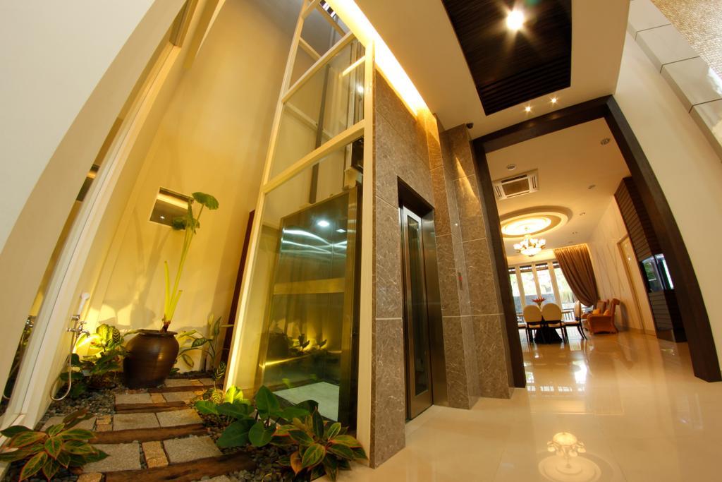 Modern, Landed, D'Residence, Interior Designer, Zeng Interior Design Space, Flora, Jar, Plant, Potted Plant, Pottery, Vase, Lighting, Indoors, Lobby, Room, Corridor
