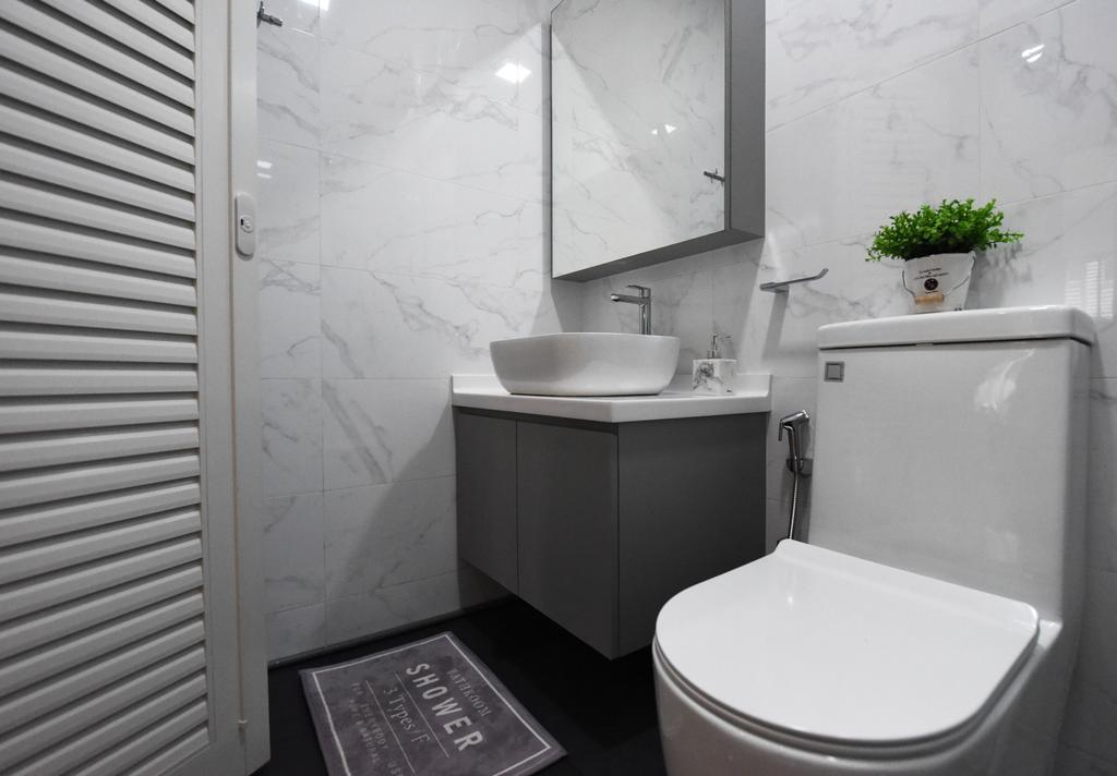Scandinavian, HDB, Bathroom, Bukit Panjang, Interior Designer, Starry Homestead, Indoors, Interior Design, Room, Flora, Jar, Plant, Potted Plant, Pottery, Vase