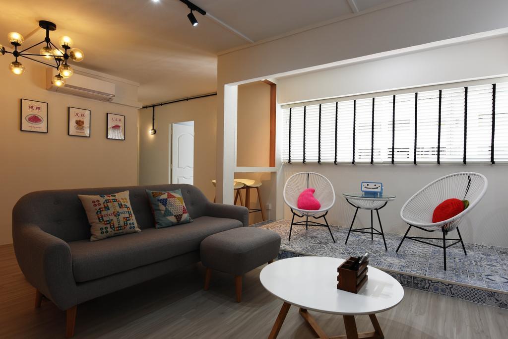 Scandinavian, HDB, Living Room, Bukit Panjang, Interior Designer, Starry Homestead, Chair, Furniture, Light Fixture, Couch, Indoors, Room, Dining Table, Table