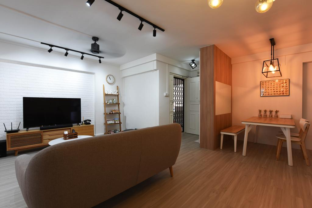 Scandinavian, HDB, Bukit Panjang, Interior Designer, Starry Homestead, Couch, Furniture, Flooring, Dining Table, Table, Electronics, Entertainment Center, Home Theater, Indoors, Room