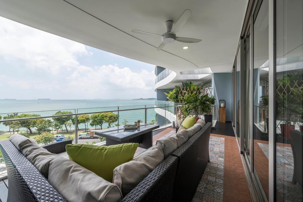Condo, Balcony, Ocean Drive, Interior Designer, A.RK Interior Design, Couch, Furniture, Flora, Jar, Plant, Potted Plant, Pottery, Vase, Electric Fan