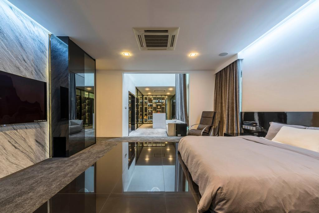 Modern, Landed, Bedroom, Jalan Lengkok Sembawang, Interior Designer, ARK-hitecture, Bed, Furniture, Indoors, Room, Interior Design