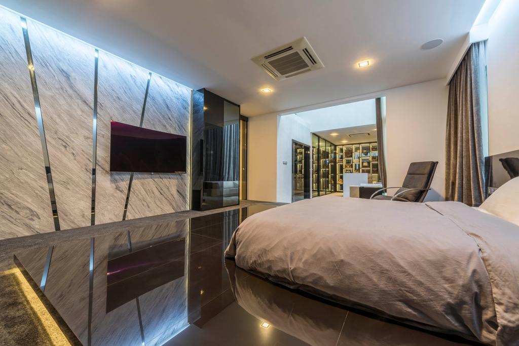 Modern, Landed, Bedroom, Jalan Lengkok Sembawang, Interior Designer, ARK-hitecture, Bed, Furniture, Indoors, Interior Design, Library, Room