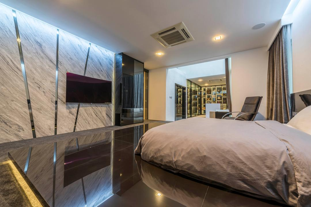 Jalan Lengkok Sembawang, ARK-hitecture, Modern, Bedroom, Landed, Bed, Furniture, Indoors, Interior Design, Library, Room