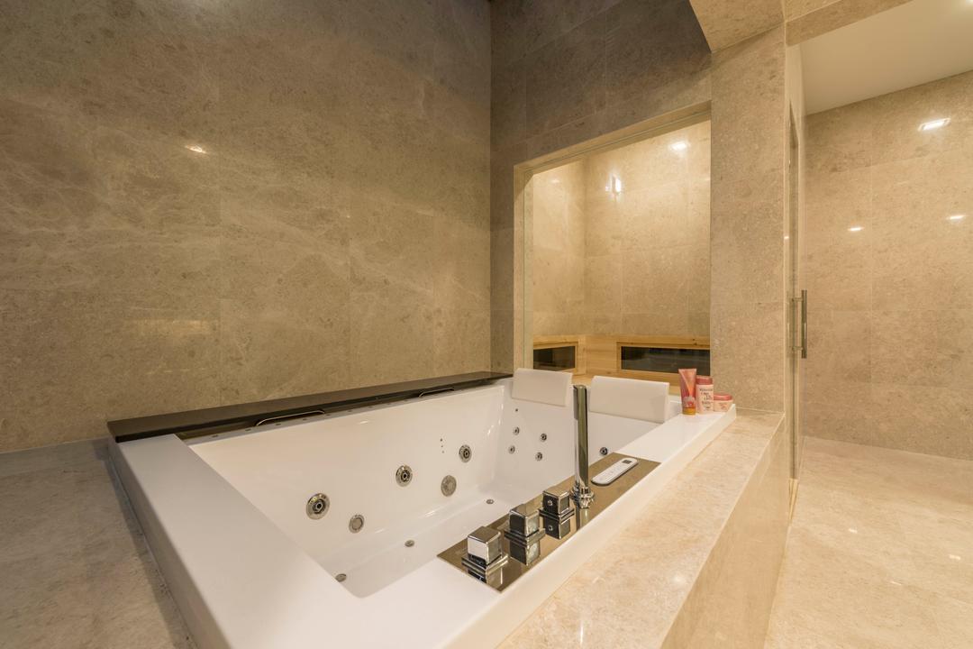 Jalan Lengkok Sembawang, ARK-hitecture, Modern, Landed, Jacuzzi, Tub, Bathroom, Indoors, Interior Design, Room