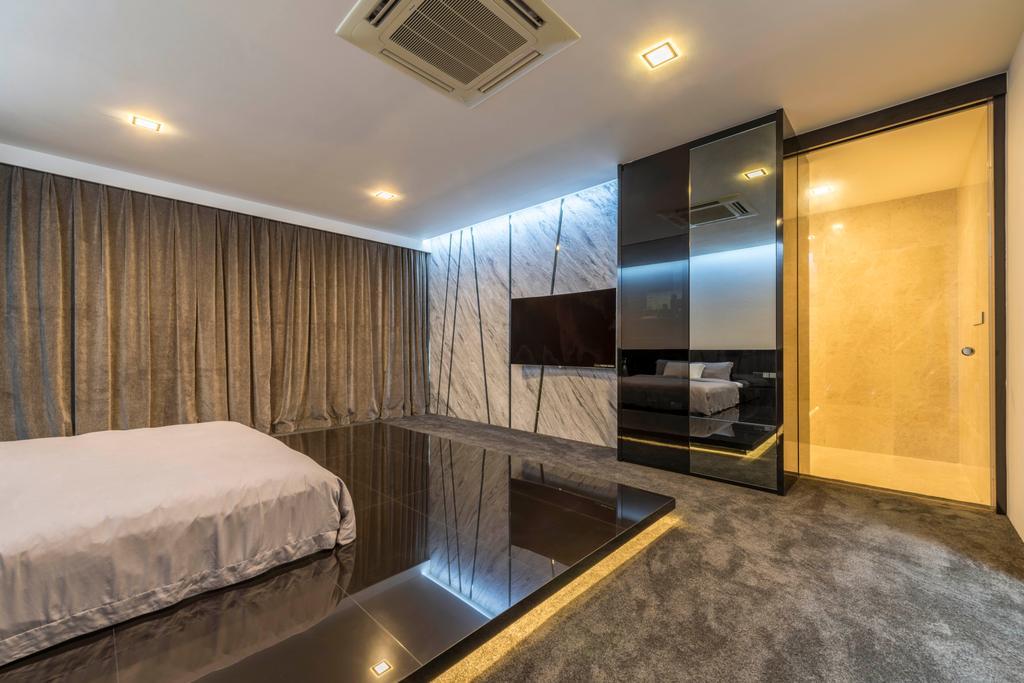 Modern, Landed, Bedroom, Jalan Lengkok Sembawang, Interior Designer, ARK-hitecture, Bed, Furniture, Indoors, Room