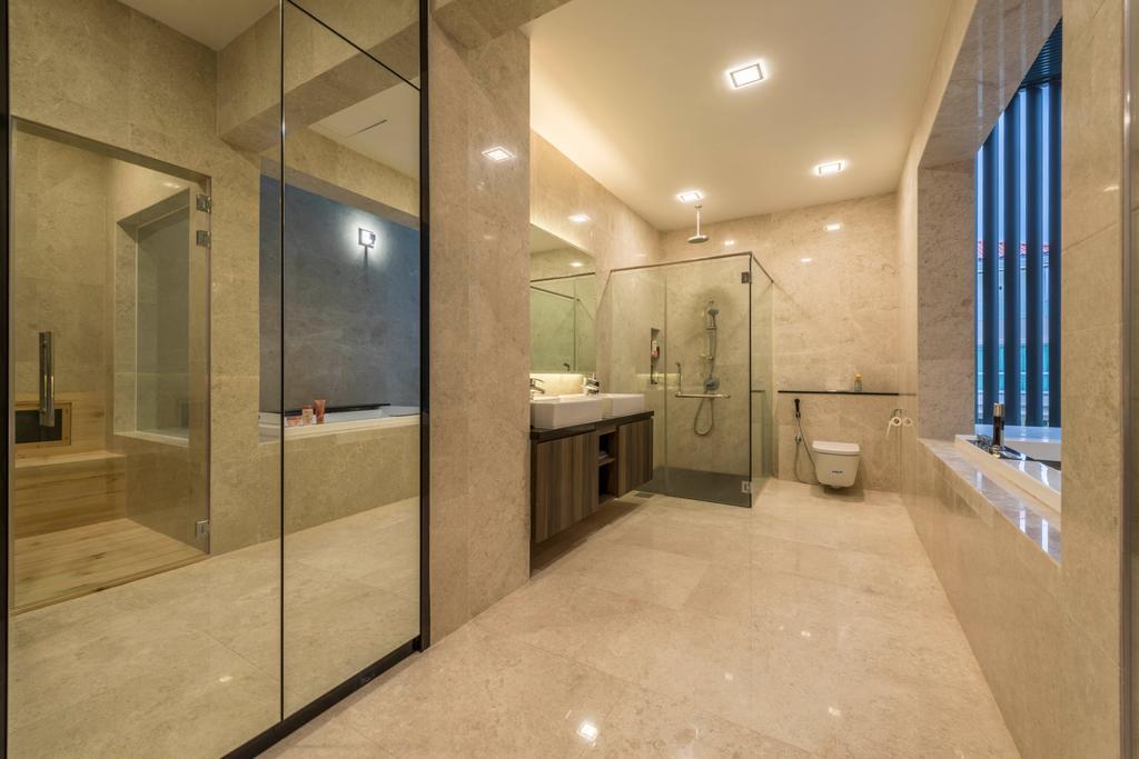 Modern, Landed, Bathroom, Jalan Lengkok Sembawang, Interior Designer, ARK-hitecture, Sink, Flooring, Corridor
