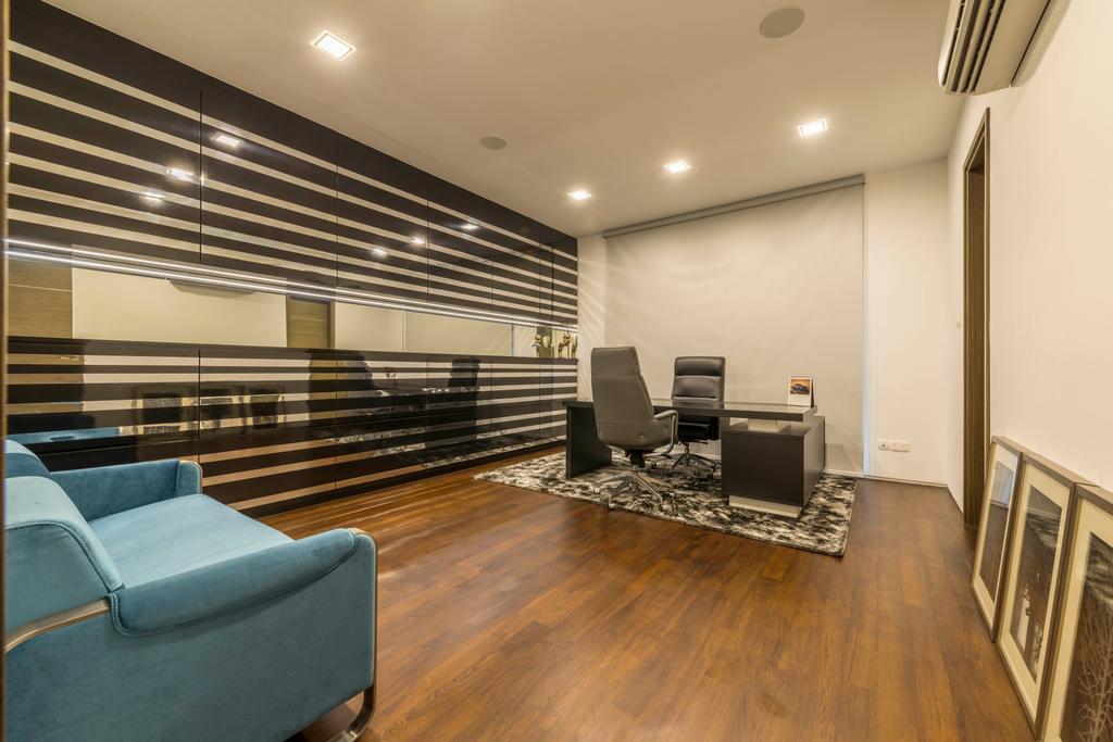 Modern, Landed, Study, Jalan Lengkok Sembawang, Interior Designer, ARK-hitecture, Flooring, Chair, Furniture, Hardwood, Wood, Cutlery, Fork