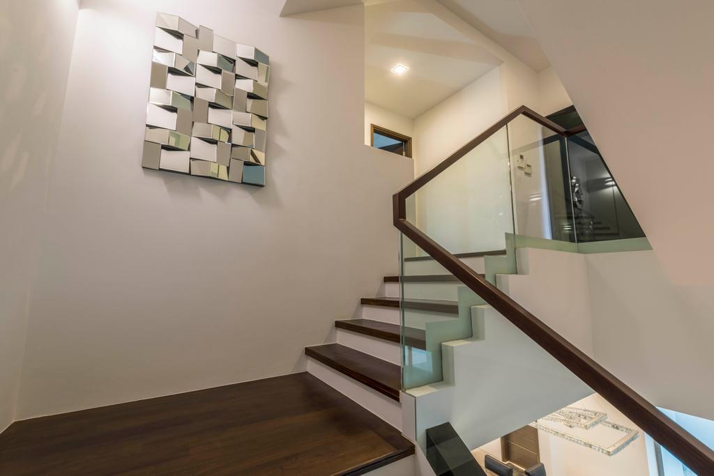 Modern, Landed, Living Room, Jalan Lengkok Sembawang, Interior Designer, ARK-hitecture, Banister, Handrail, Staircase