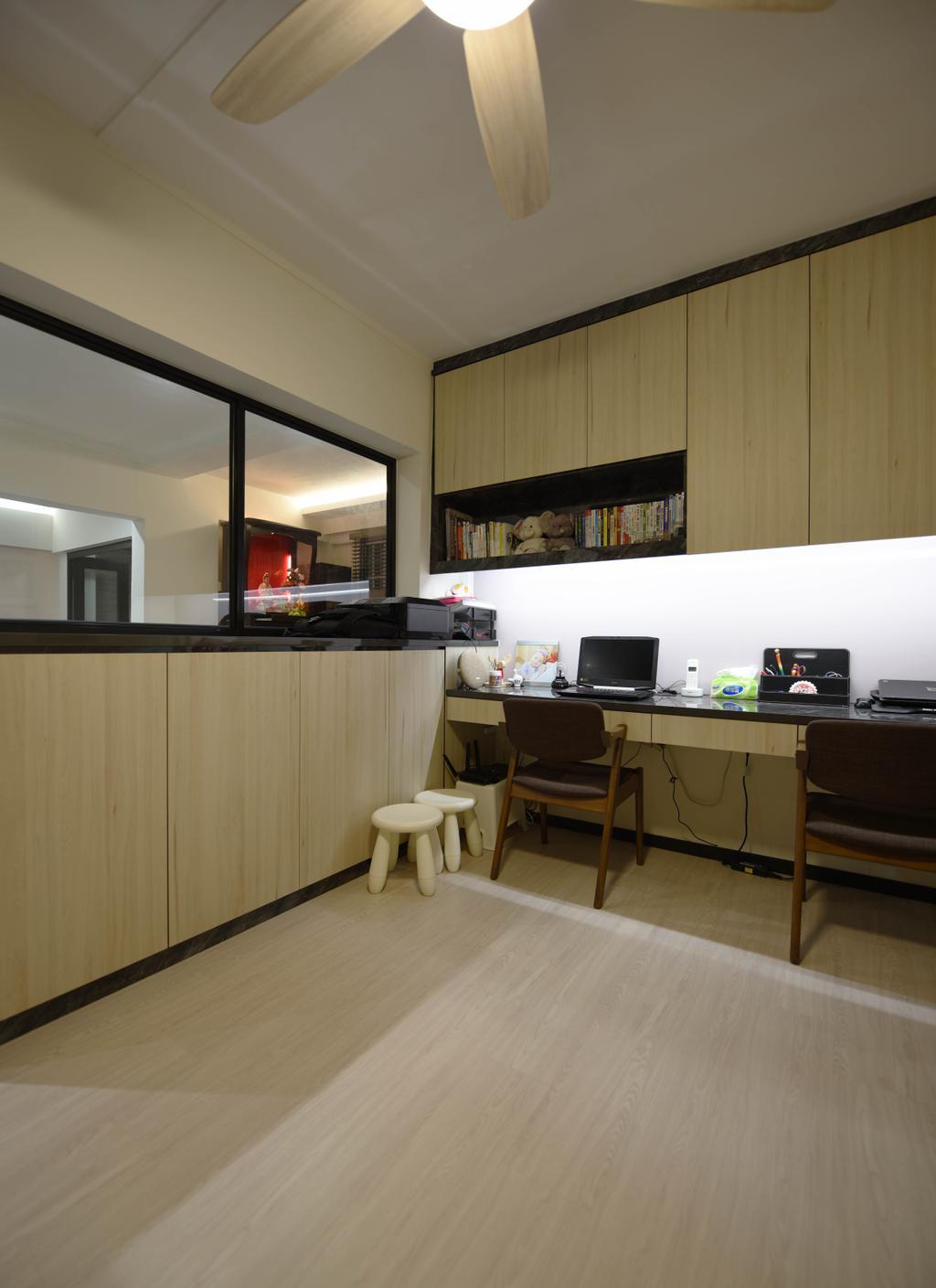 Scandinavian, HDB, Study, Ang Mo Kio (Block 221), Interior Designer, Starry Homestead, Toilet, Couch, Furniture, Indoors, Interior Design, Kitchen, Room
